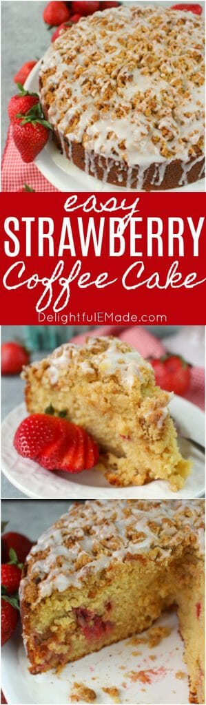 This delicious Strawberry Coffee Cake recipe is the perfect excuse to have cake for breakfast! Loaded with fresh, delicious strawberries, topped with a delicious streusel crumble and iced to perfection, this coffee cake is perfect for your next brunch!