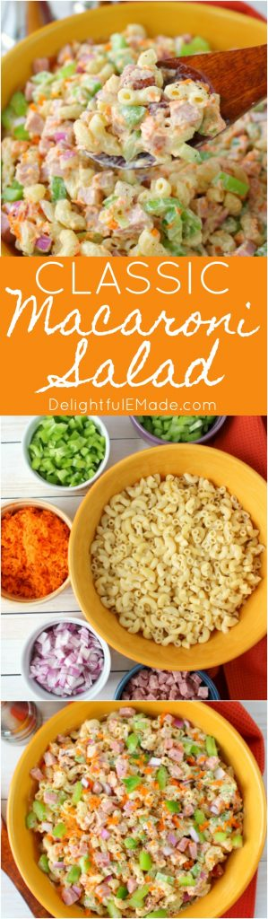 The BEST Macaroni Salad recipe! Loaded with fresh carrots, celery, diced bell pepper, red onion, and savory ham, this Simple & Classic Macaroni Salad is the perfect side dish for your next cookout or pot-luck.