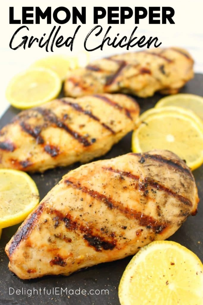 One of the BEST recipes for grilled chicken breasts! This savory, delicious Lemon Pepper Grilled Chicken comes together quickly and easily, making it the perfect healthy dinner solution. Great with chicken breasts, legs or thighs!