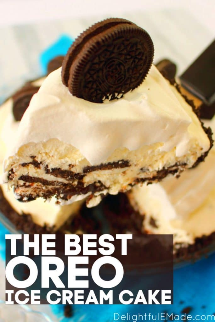 Slice of OREO ice cream pie with whipped cream and topped with extra oreo.