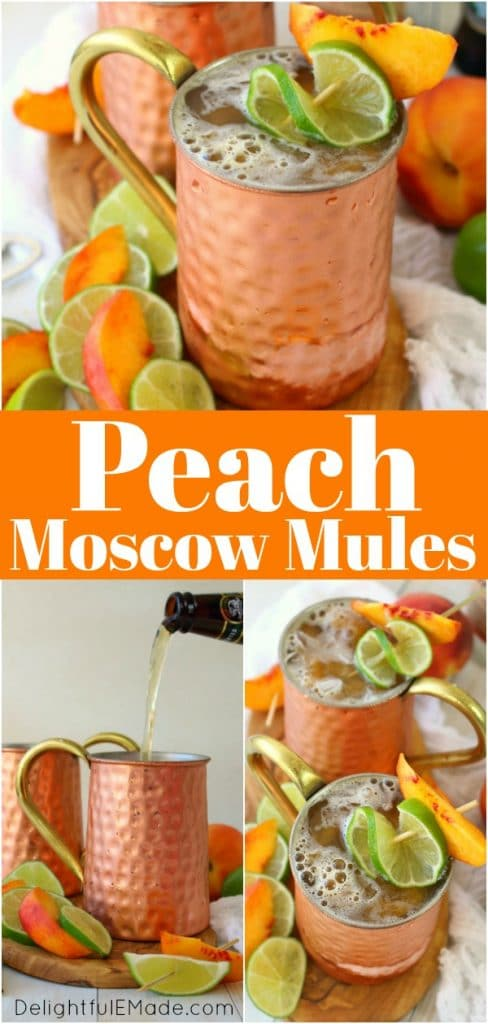 A delicious twist on the classic Moscow Mule recipe! Made with just a few simple ingredients, this Ginger Peach Moscow Mule combines the cold, crisp flavors of ginger beer with fresh peaches.