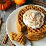 The ultimate fall breakfast! These Pumpkin Spice Waffles are great for a weekend brunch, and even better for freezing and toasting for an easy weekday breakfast. Made with simple ingredients, these delicious pumpkin waffles will be a new family favorite!