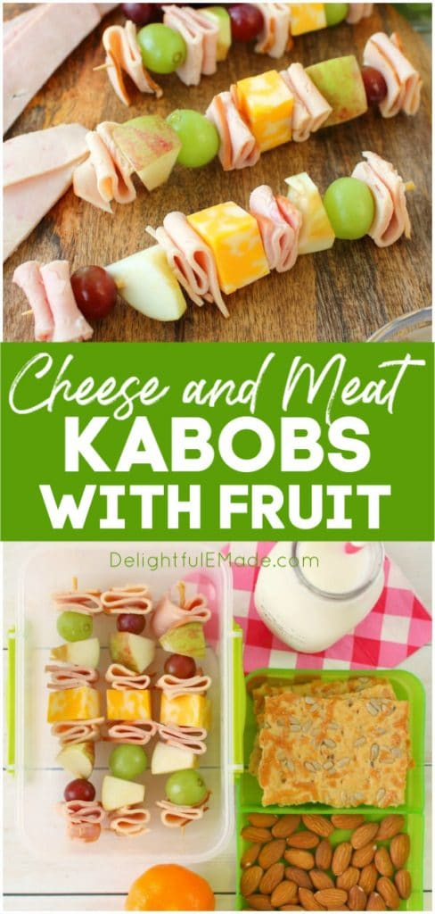 Looking for school lunch ideas? These fun and easy cheese and meat kabobs with fruit will have your kids excited to pack their lunchbox! These meat and cheese skewers are loaded with sliced turkey, ham, fruit and cheese. Great for the kid that won't eat a sandwich!