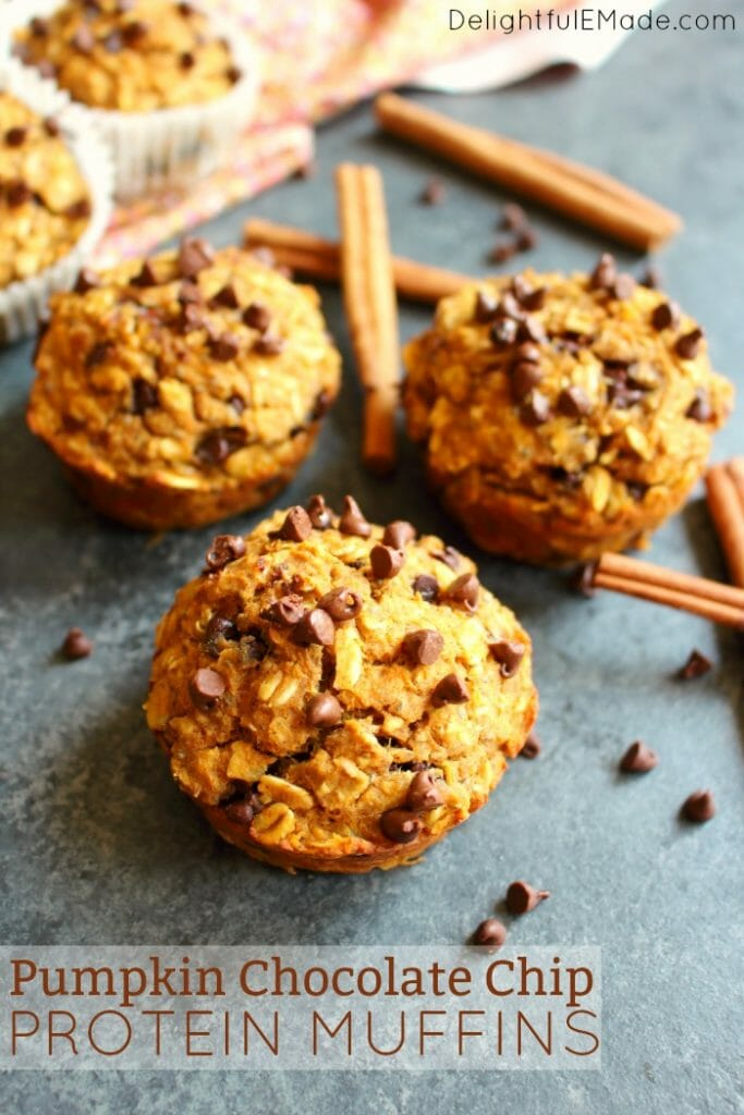 The perfect healthy muffin recipe that happens to taste amazing! These delicious Pumpkin Chocolate Chip Protein Muffins are loaded with protein and fiber, making them a great choice as a quick breakfast or healthy snack.