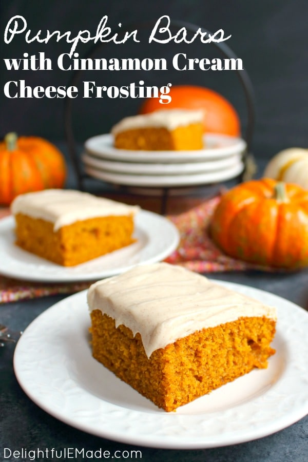 These Pumpkin Bars with Cinnamon Cream Cheese Frosting are like pumpkin sheet cake, but frosted with a thick, delicious layer of cream cheese frosting. Other dessert bars will be completely jealous of these showstoppers!