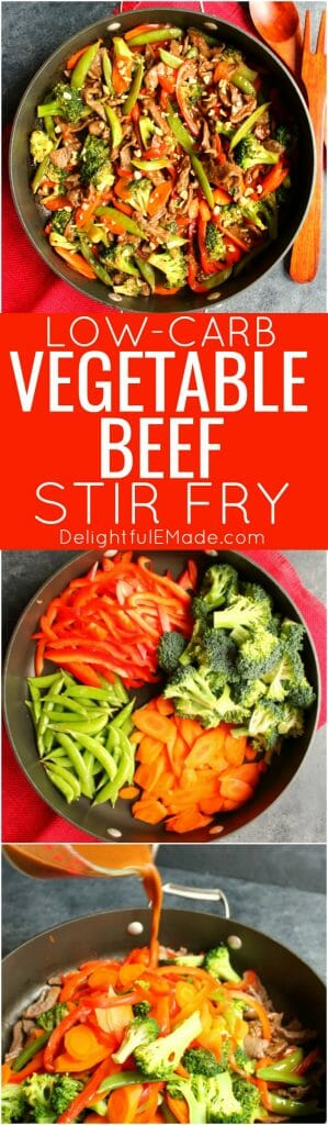 Your new go-to healthy dinner idea! This delicious Low-Carb Vegetable Beef Stir Fry is loaded with flavor and packed with protein. Made with sirloin beef, and lots of fresh vegetables, this 20-minute dinner will be a new family fave!