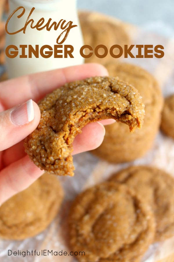 These Chewy Ginger Cookies are the ultimate Christmas cookie! Made with molassas and spices, this ginger cookie recipe is EASY and perfect for the holidays!