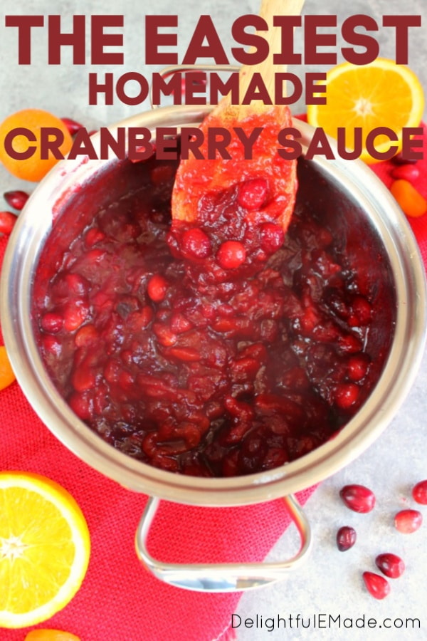 Incredibly simple to make, this flavorful and delicious Homemade Cranberry Sauce recipe will be your new favorite Thanksgiving side dish! Simply simmered with dried apricots, orange juice and orange zest, this cranberry sauce goes perfectly with any holiday meal!