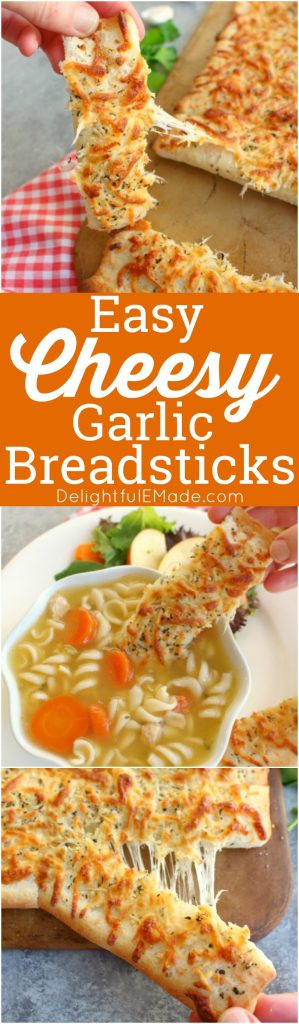 These Easy Cheesy Breadsticks are gonna be your soup's BFF! This super simple recipe for cheesy garlic breadsticks are the perfect side for just about any meal, especially soup and salad!