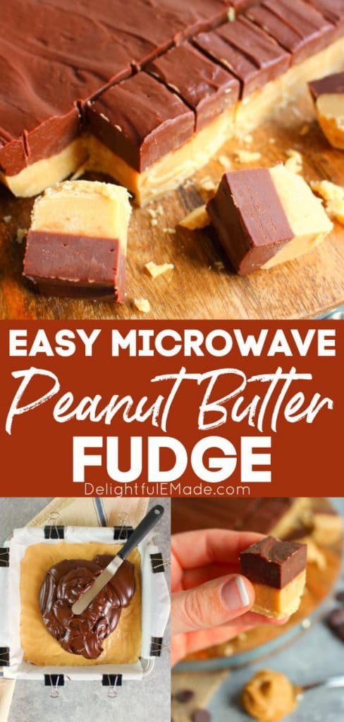 microwave peanut butter fudge recipe, on cutting board