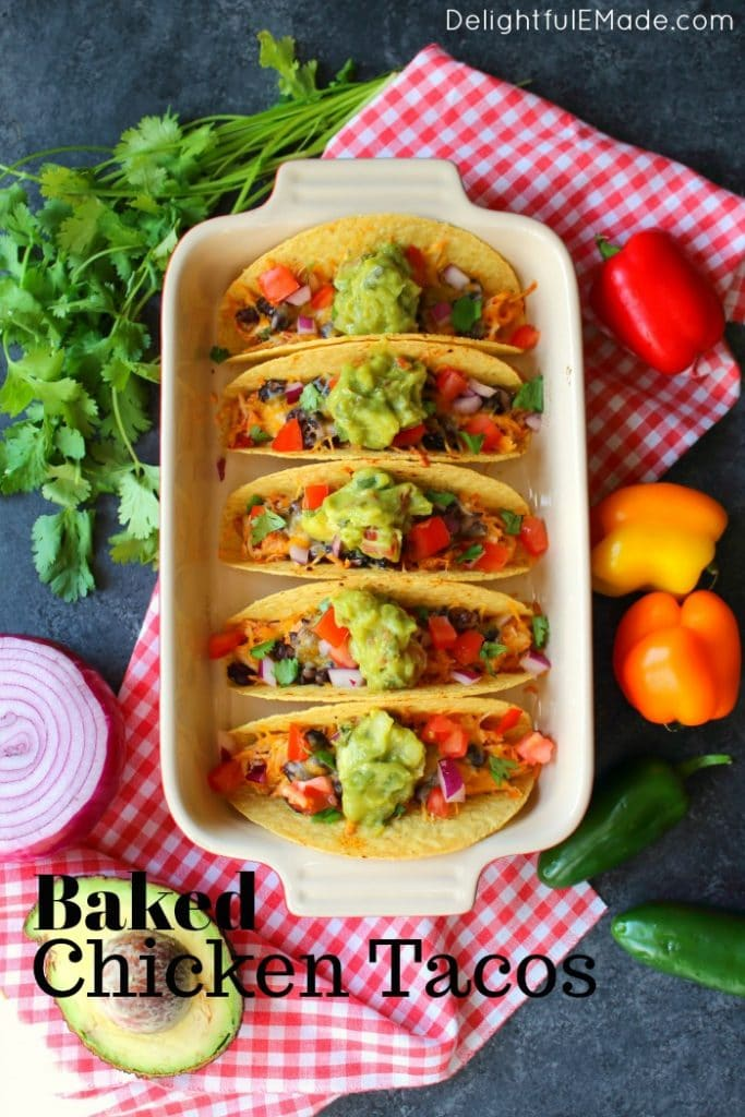 This recipe for Baked Chicken Tacos will be your new favorite way to enjoy taco Tuesday! Made with savory shredded chicken, and topped with all of your favorites, these tacos will become an instant favorite.