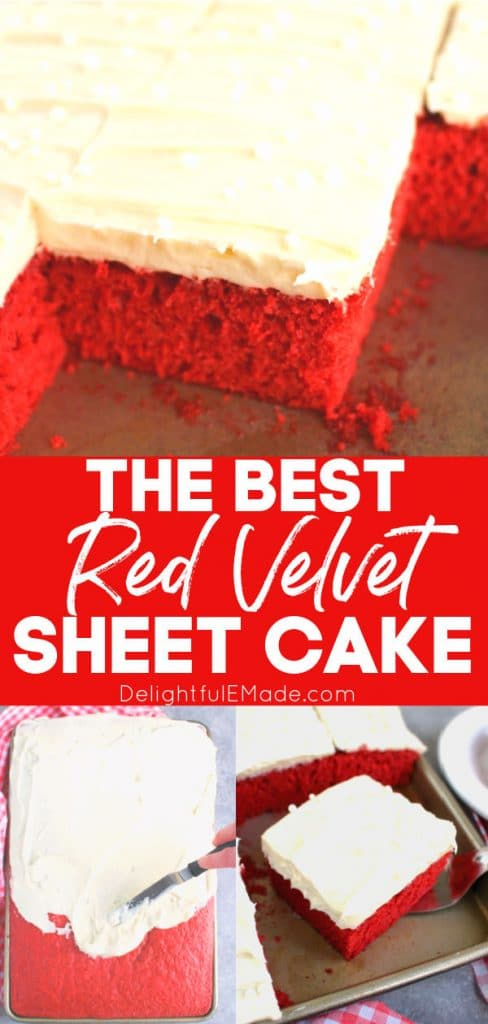 Red velvet sheet can, topped with cream cheese frosting. Sliced and in pan.