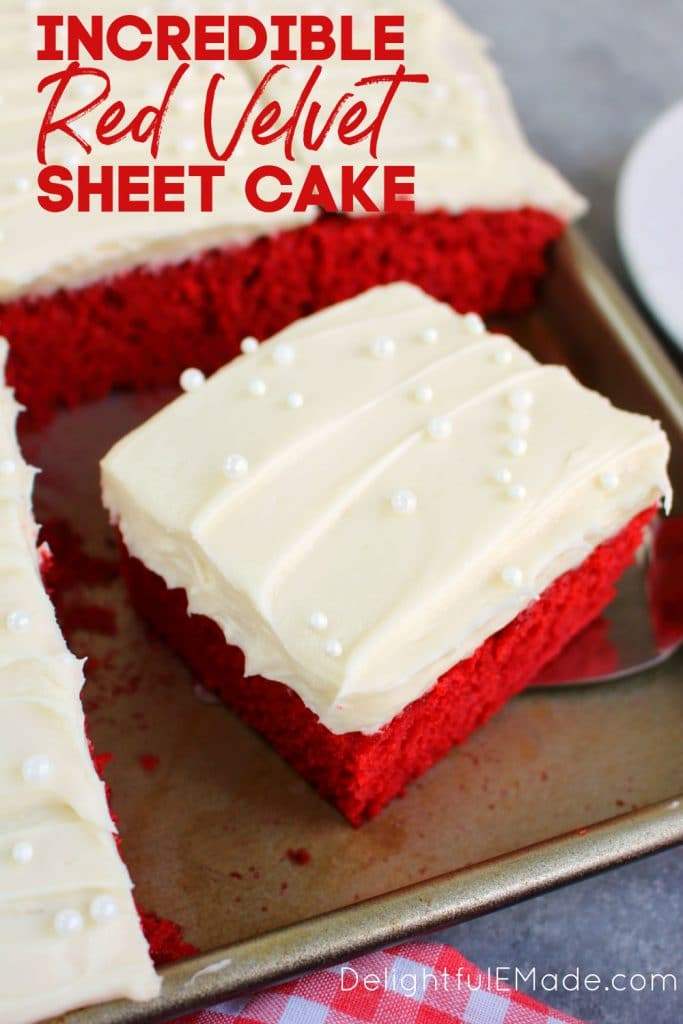 Slice of red velvet sheet cake in pan.