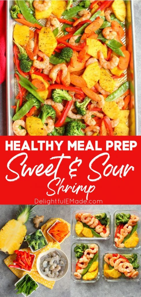 Healthy sweet and sour shrimp recipe on sheet pan and in meal prep containers.