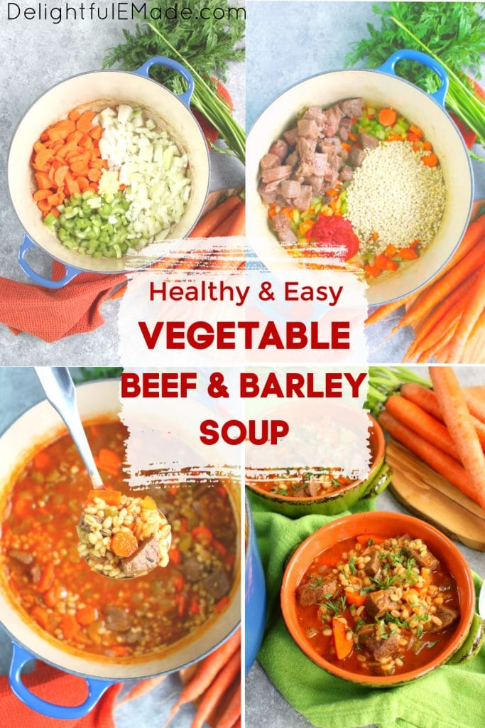 Vegetable beef and barley soup, ingredients of soup in pot.