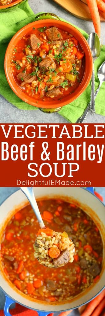 This Vegetable Beef and Barley Soup recipe will be your new favorite way to warm up in the winter! Loaded with fresh veggies, this delicious beef and barley soup is easy to make and completely delicious!