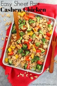 This Healthy Cashew Chicken recipe will be your new favorite weeknight dinner idea. Simply made, this sheet pan dinner idea is loaded with veggies and an amazing sauce.