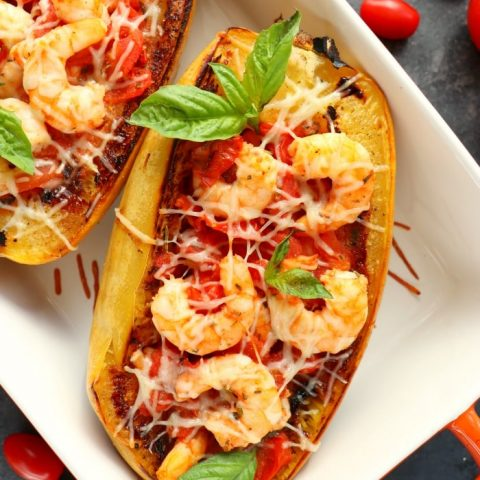 This delicious Spaghetti Squash Shrimp Pomodoro will be your new favorite low-carb dinner! Made with a delicious and simple to make tomato pomodoro sauce, this spaghetti squash recipe is easy and healthy!