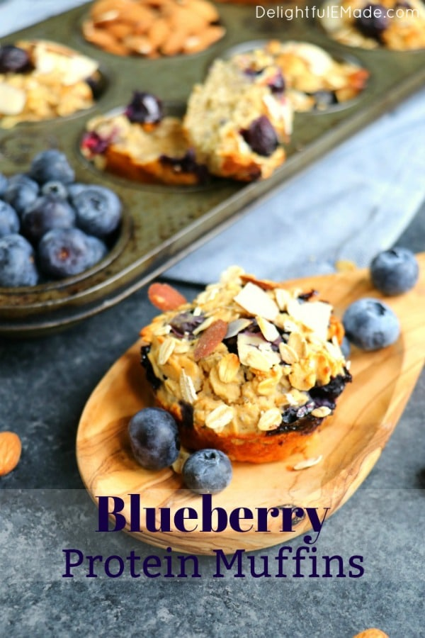The perfect protein muffin recipe! These Blueberry Protein Muffins are a fantastic make-ahead breakfast option for busy mornings when you want a healthy breakfast. No flour, no refined sugar and no oil!