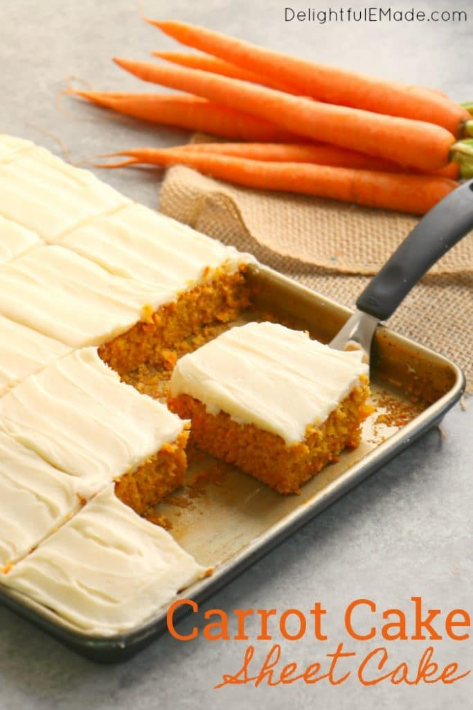 Don't have time for a layer cake? This Carrot Sheet Cake is where it's at! The perfect dessert for your Easter dinner or spring celebration, this Carrot Cake Sheet Cake with Cream Cheese frosting is amazing!