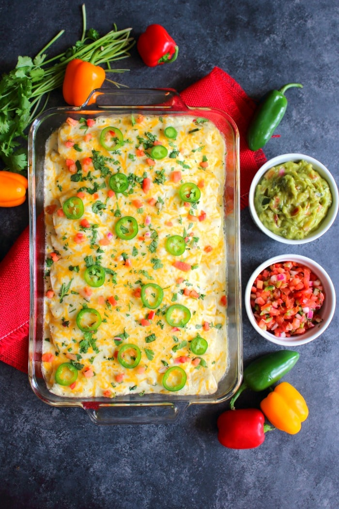 Need an amazing Shredded Chicken Enchilada recipe? Look no further! My Sour Cream Check Enchilada recipe is a fantastic dinner idea, and perfect for when you're craving Tex-Mex!