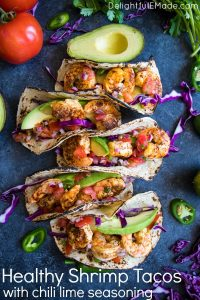 Taco Tuesday just got a major upgrade! My Healthy Shrimp Tacos with Chili Lime Seasoning are going to be your new favorite taco recipe! Made with delicious chili lime seasoned shrimp and all the healthy toppings, these tacos are amazing!