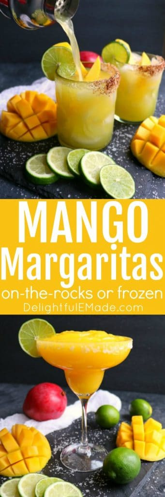 If you love a great margarita, then my Mango Margarita recipe is a must! Made with fresh mangoes, lime juice, tequila and Cointreau, this margarita recipe can be made on-the-rocks or frozen! It's simple to make and completely delicious! #margaritas #mangomargaritas