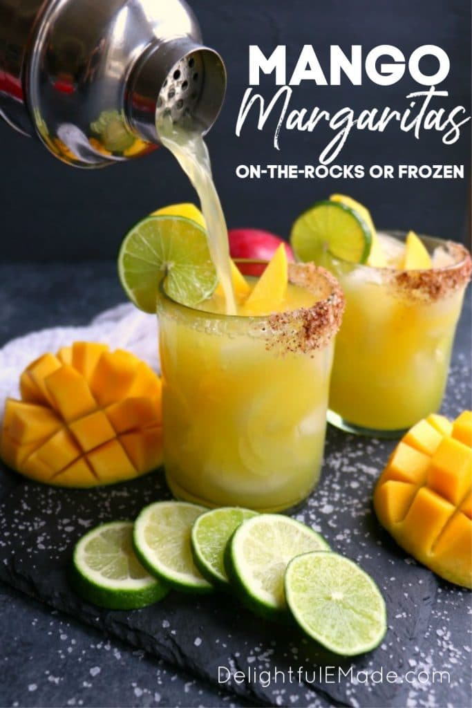 If you love a great margarita, then my Mango Margarita recipe is a must! Made with fresh mangoes, lime juice, tequila and Cointreau, this margarita recipe can be made on-the-rocks or frozen.