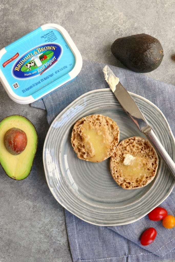 After my morning workout, I always try to have a decent amount of protein, along with either fruits and/or vegetables. One of my favorite breakfasts is my Avocado Eggs with Tomatoes on aLight English Muffin. I like to add Brummel and Brown Spread to my toasted English muffin for added flavor.