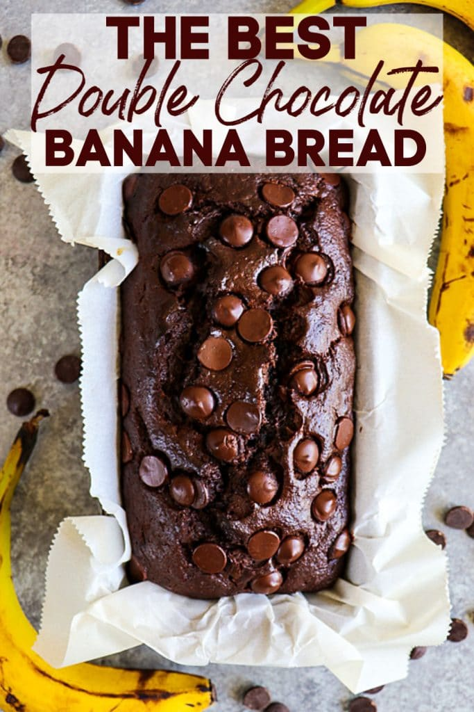 My Double Chocolate Banana Bread is the most moist banana bread recipe you'll ever find! This chocolate chip banana bread recipe is made with brown sugar, ripe bananas and loads of big chocolate chips, making it even better than chocolate cake!