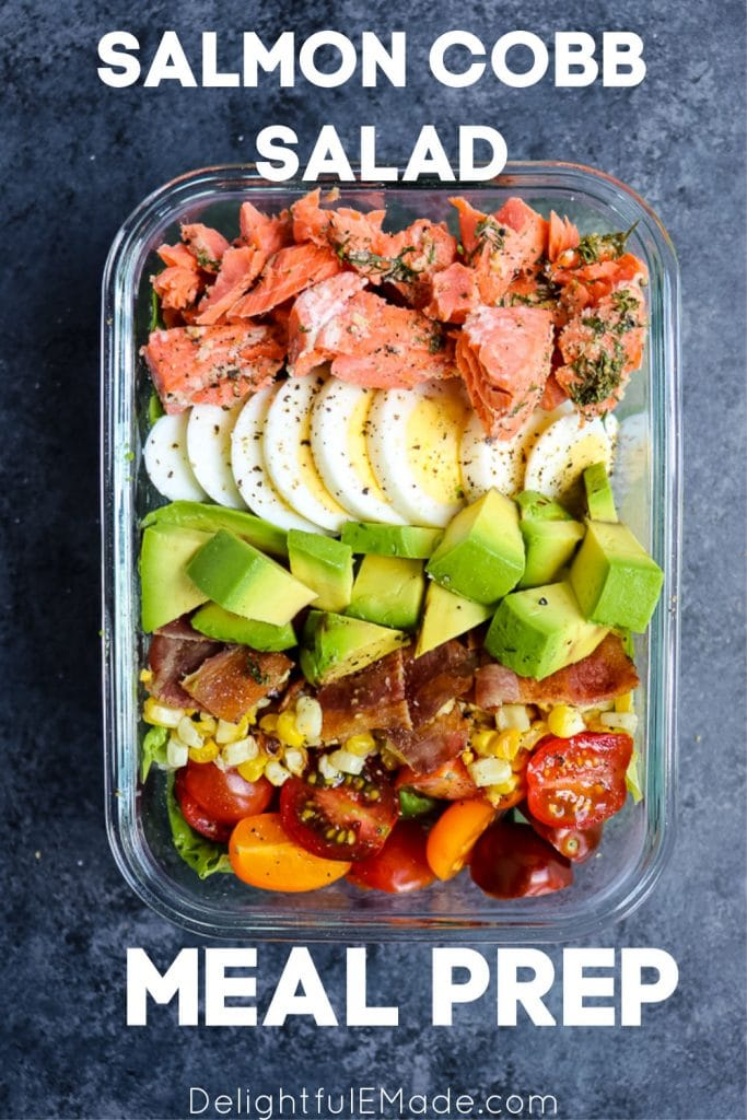 Looking for a satisfying, delicious meal prep salad idea? This Salmon Cobb Salad Recipe will be your new favorite way to enjoy a healthy lunch! Made with grilled salmon, avocados, hard-boiled eggs and more, this Grilled Salmon Salad is packed with protein, healthy and tastes amazing!