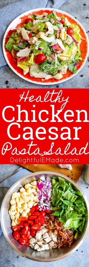 This delicious Chicken Caesar Pasta Salad will be your new favorite Healthy Pasta Salad recipe! Loaded with all of your favorite ingredients, this pasta salad with chicken, bacon, tomatoes, and a healthy Caesar dressing is perfect for your next pot-luck and great for meal-prepping!