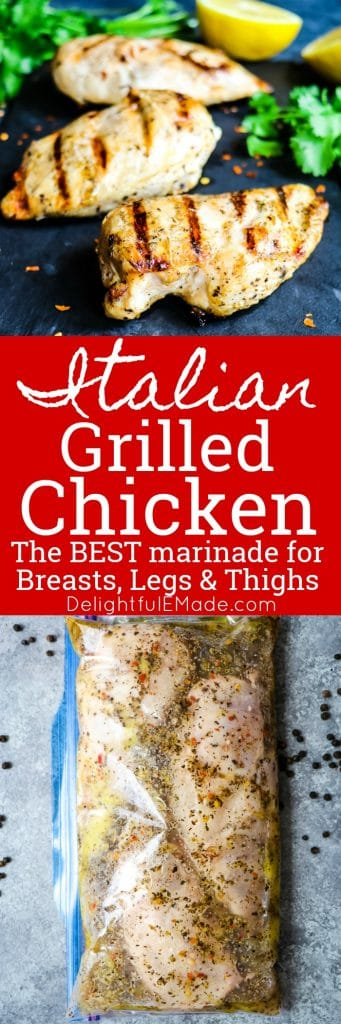 Looking for a really amazing Italian Chicken Marinade? Look no further! This simple recipe for Italian Grilled Chicken will be your new favorite dinner idea. The BEST grilled chicken recipe for breasts, legs and thighs!