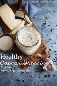 Forget the bottled stuff - this Healthy Caesar Dressing is way better than anything you buy off the shelf. This Greek yogurt dressing recipe is simple to make, tastes incredible and comes together in just minutes! Definitely the BEST Homemade Caesar Dressing around!
