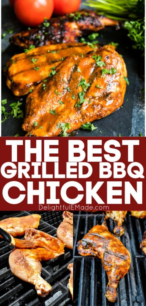 The best grilled bbq chicken, chicken breasts, legs and thighs on grill with bbq sauce.