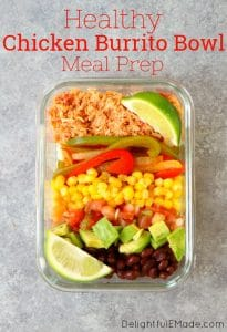 If you love Chipotle burrito bowls, but not all the calories, check out this delicious Chicken Burrito Bowl Recipe! Made with all your Chipotle faves, this Burrito Bowl Meal Prep is made with cauliflower rice, veggies, black beans and my simple slow cooker chicken. This burrito bowl recipe is perfect for your Meal Prep Sunday!