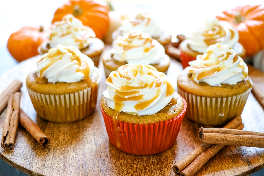 If pumpkin is your thing then these Caramel Pumpkin Spice Cupcakes with Cream Cheese Frosting and Filling will be your new favorite way to indulge!