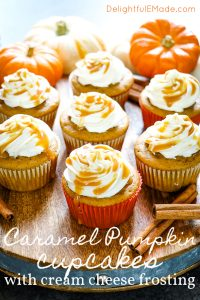 If pumpkin is your thing then these Caramel Pumpkin Spice Cupcakes with Cream Cheese Frosting and Filling will be your new favorite way to indulge! Modeled after my uber popular Pumpkin Caramel Cream Cheese Poke Cake, these cupcakes are loaded with flavor and deliciousness!
