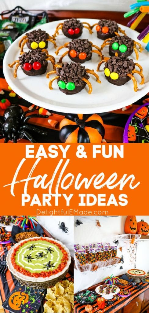 Halloween Party Food ideas, with chocolate spiders, spider web dip and drink buffet.