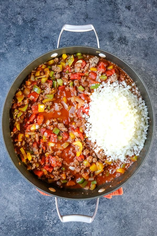 If you need a really quick, healthy dinner idea, you've come to the right place! Made in 20 minutes, my Healthy Unstuffed Peppers with Cauliflower Rice will be your new go-to healthy weeknight dinner idea. This fantastic unstuffed pepper recipe is great for meal prepping, too!