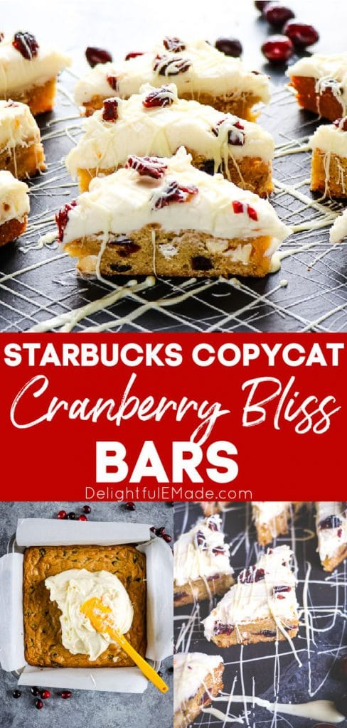 Starbucks copycat cranberry bliss bars, cut into triangles and drizzled with white chocolate.