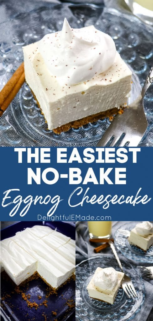 No bake eggnog cheesecake, cut into squares, on plate.