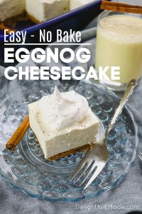 If you're looking for a festive eggnog cheesecake recipe this Christmas, look no further! This easy No Bake Eggnog Cheesecake is the perfect dessert for your holiday parties, celebrations and Christmas dinner!