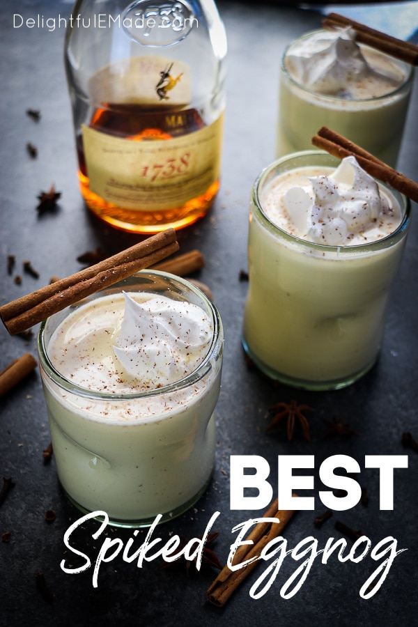 Forget the store-bought stuff, this Spiked Eggnog recipe is amazing! With just a few simple steps, this alcoholic eggnog is the perfect way to kick off your holiday party or Christmas celebration!