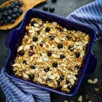 This baked blueberry oatmeal is a fantastic way to jazz up your bowl of porridge. This healthy baked oatmeal recipe has loads of juicy blueberries and sliced almonds to make it hearty, filling and completely delicious!