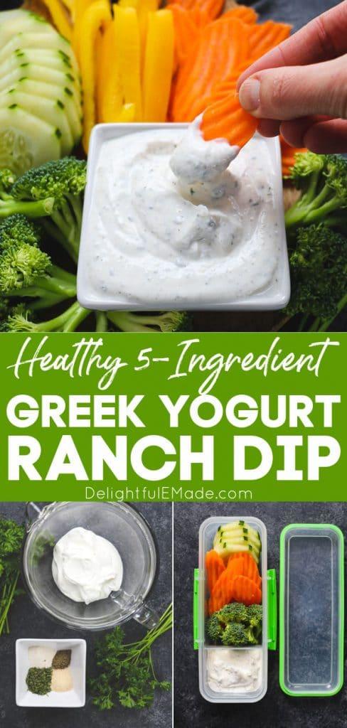 Greek yogurt ranch dip, greek yogurt veggie dip with vegetables.