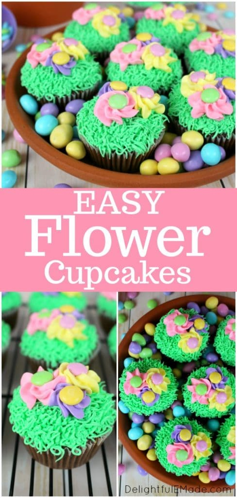 These Spring Flower Cupcakes are the perfect mix of pretty pastel flowers, and delicious chocolate cake!  Decorated with green grass frosting and topped with spring pansies adorned with M&M's® candies, these flower cupcakes are perfect for Easter or any fun, spring occasion!
