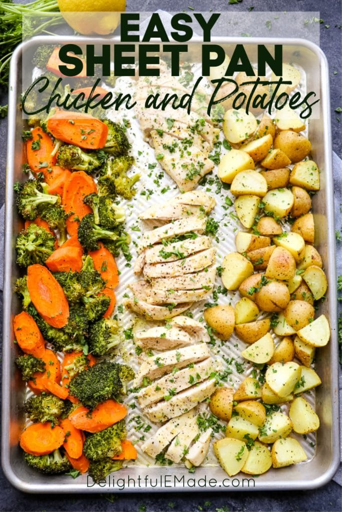 Looking for a one pan chicken and potatoes recipe? This simple, healthy Sheet Pan Chicken and Potatoes will be your new go-to chicken breast recipe! Made all on ONE sheet pan, and paired with vegetables this quick dinner idea is perfect for any night of the week.