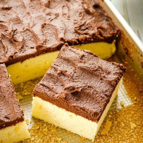 Is Yellow Cake with Chocolate Frosting your all-time favorite? Then this fluffy, delicious Buttermilk Cake recipe is right up your alley. This homemade buttermilk sheet cake is made in a 9x13 inch pan making is really simple to make, frost and enjoy.