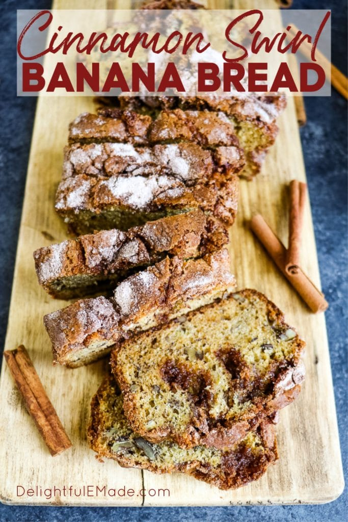 Tired of your same-old banana bread recipe? This Cinnamon Swirl Banana Bread might just become a new family favorite. Super moist, flavorful and topped with a swirl of cinnamon sugar, this Cinnamon Banana Bread recipe is one you'll make over and over again!